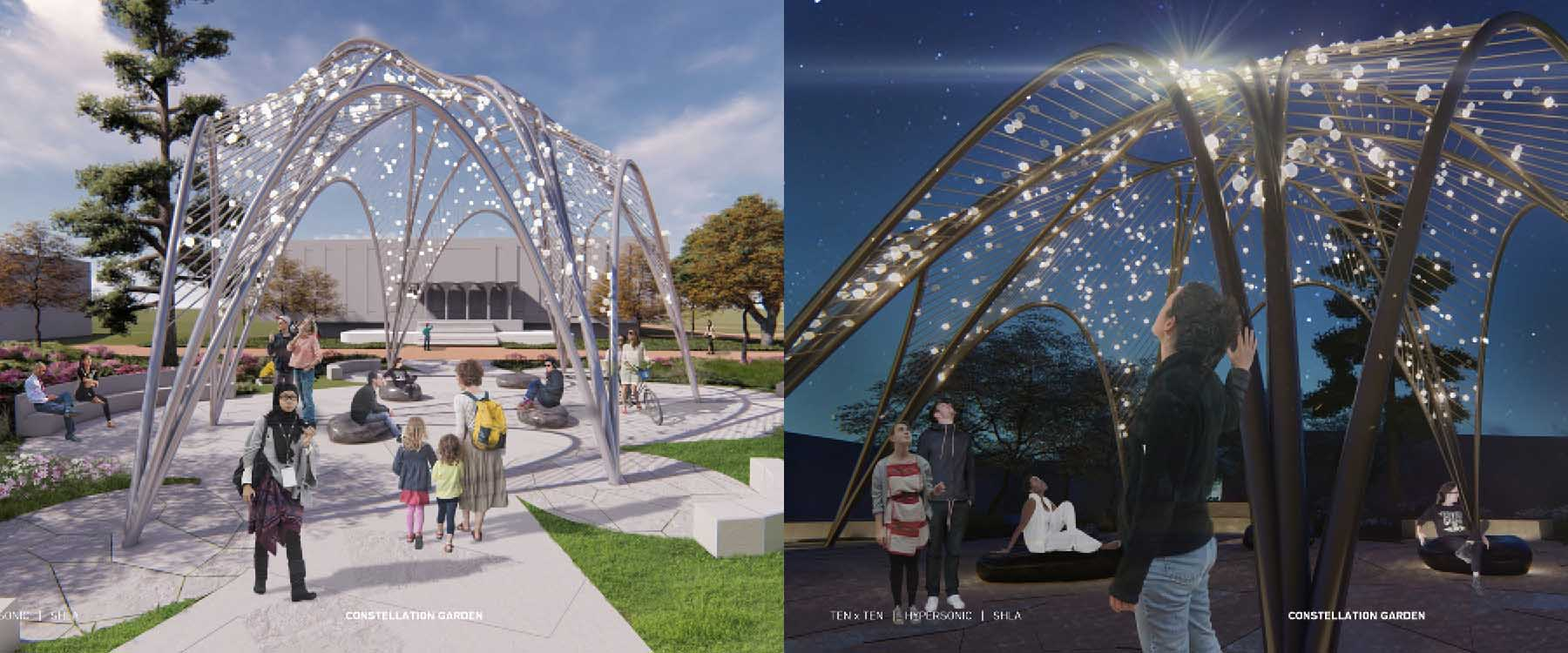 "A ""constellation garden"" that follows the orientation of the stars above the Kennedy Building on April 30, 2019, is the basis of the conceptual design for the UNC Charlotte Remembrance Memorial."