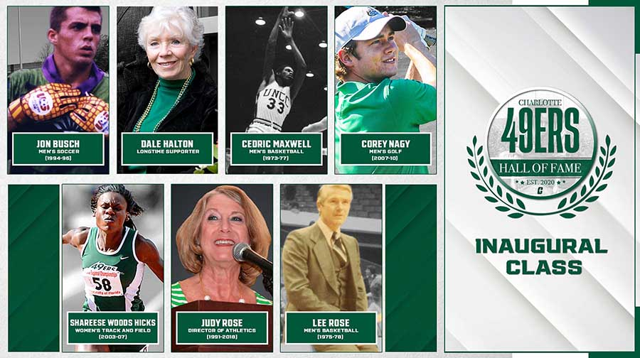 Seven individuals — four athletes, a coach, an administrator and a benefactor — are among the first class of the Charlotte 49ers Hall of fame.