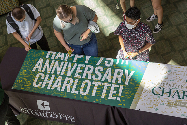 Charlotte students sign 75th Anniversary banner
