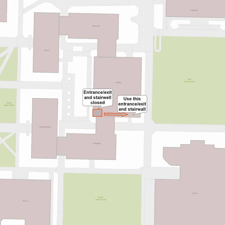 Temporary closure of Denny Building entrance/exit