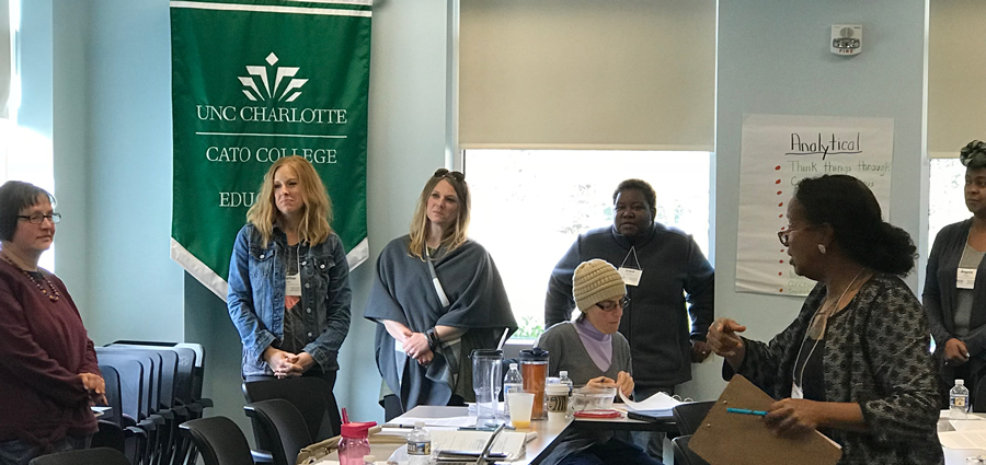 Beverly Roberts, ECAC, right, provides training to parents of students with disabilities about telling their own stories.
