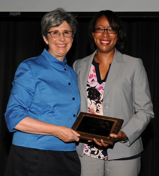 Photo of Jennifer Webb, associate professor in the Department of Psychological Science and Provost Joan Lorden