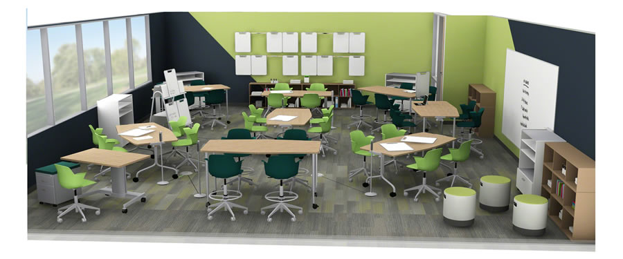 A rendering of a Steelcase active learning environment.