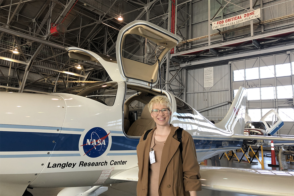 Parks Drake, a student in the UNC Charlotte Cato College of Education, toured the NASA Langley Research Center