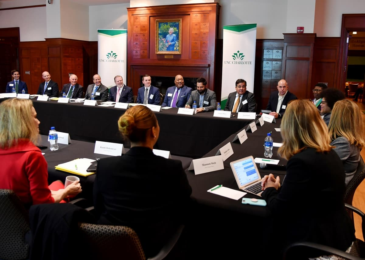 Senate Leader Phil Berger and Sen. Dan Bishop hosted an education roundtable on campus.