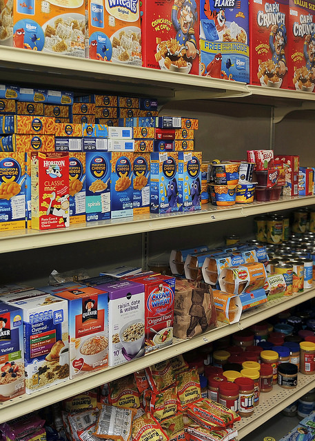 Food on shelves at Jamil Niner Student Pantry