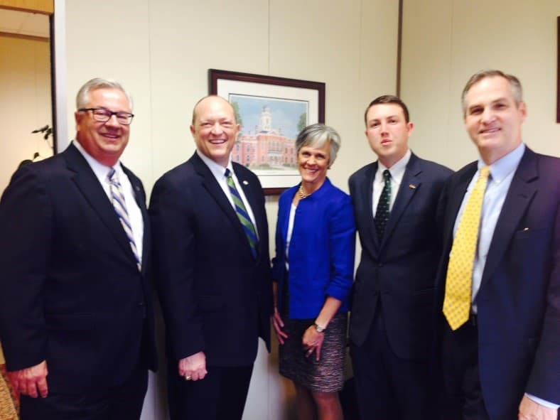 From left UNC Board of Governors member Henry Hinton; Rep. Dean Arp, UNC Charlotte '99; UNC Board of Governors member Joan Perry; Dave Craven, UNC Charlotte '12 and UNC Board of Governors member Steve Long