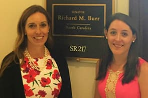 Dr. Elliot with an aide from Sen. Burr's office