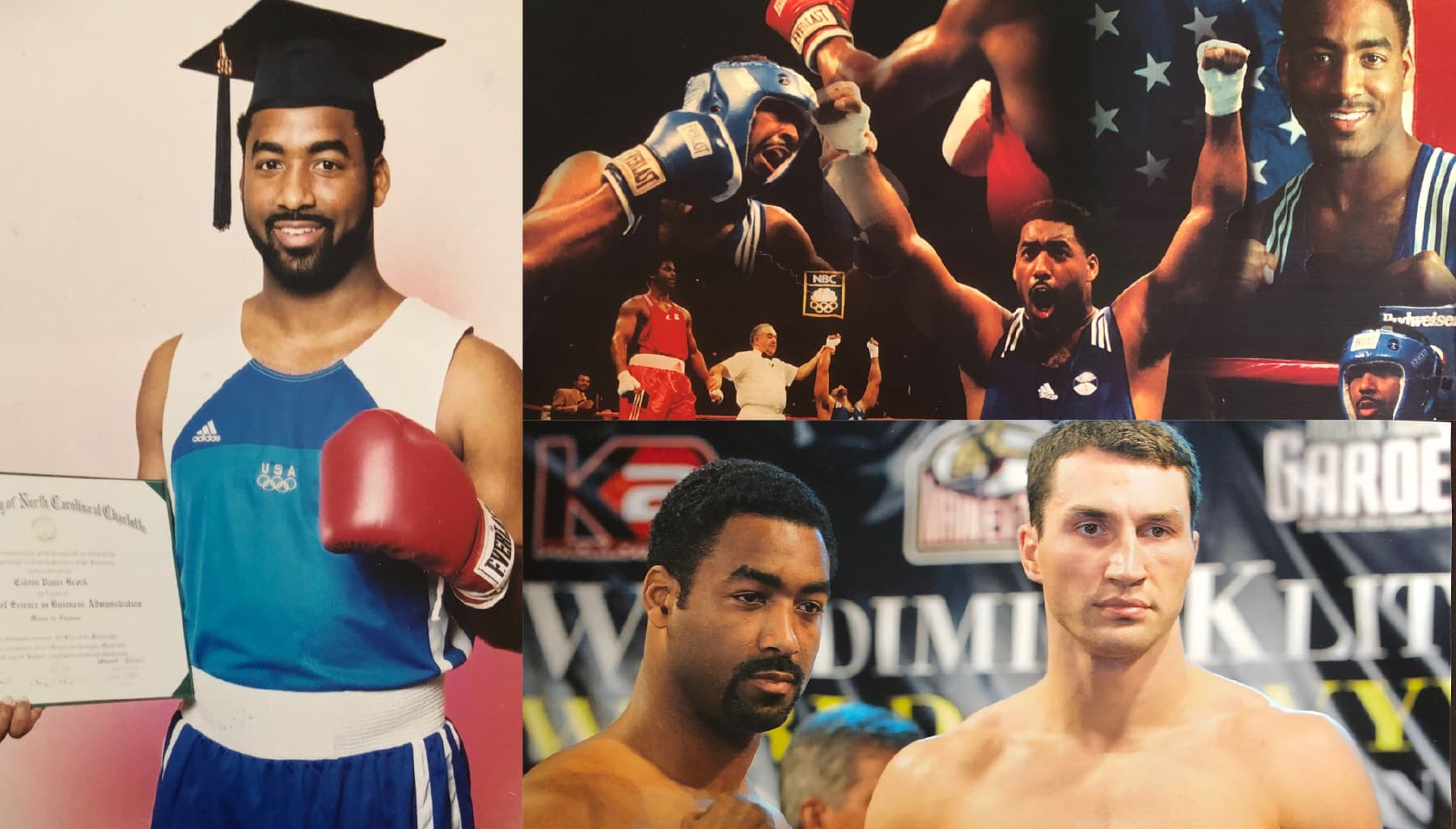 Calvin Brock with UNCC diploma, Olympic boxing montage, photo with Wladimir Klitschko