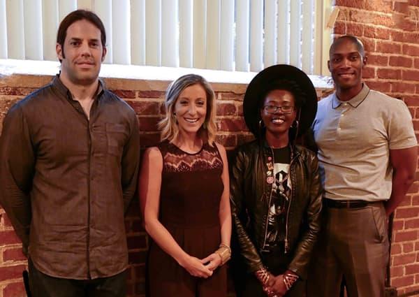 Photo of UNC Charlotte alumni entrepreneurs Ryan Kennedy,Caroline York, Kia Moore, and Chris Moxley