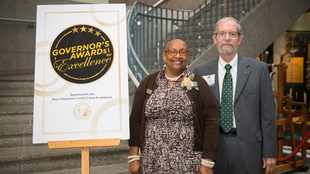 Lebra Nance with Ron Smelser at Governor's Awards for Excellence ceremony